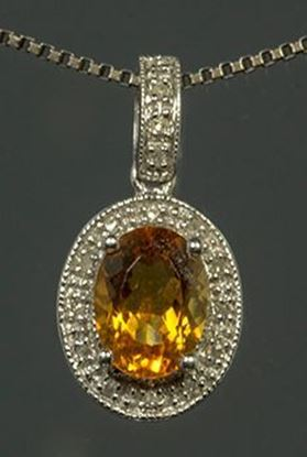 14k White Gold Diamond & Oval Citrine Pendant