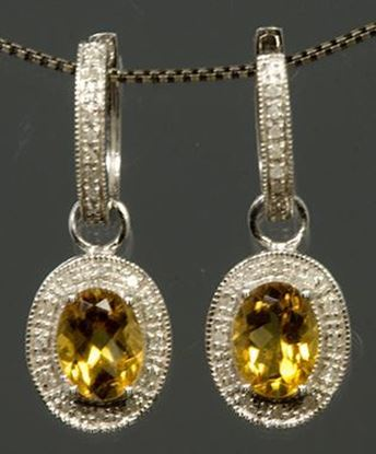 14k White Gold Diamond & Oval Citrine Earrings