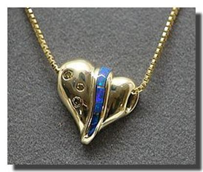 14k Heart Pendant W/Opal inlay & champagne diamonds