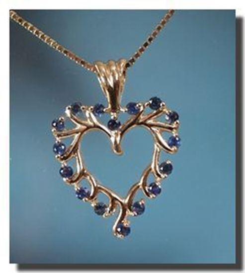14k Heart pendant w16 2.25mm Montana Sapphires