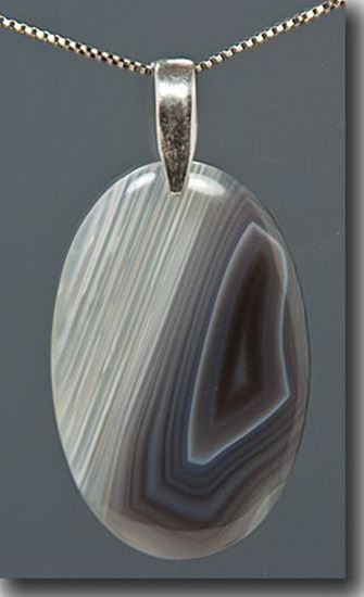 African Botswana Agate sterling pendant