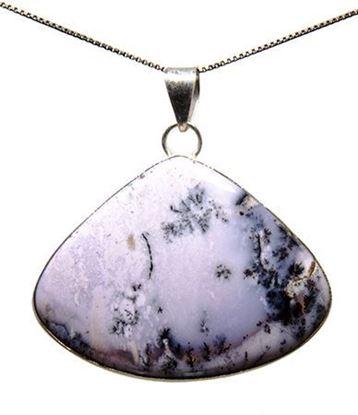 Amethyst Sage Dendritic Agate Silver Pendant