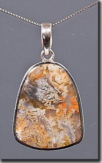 Graveyard Point Plume agate Silver Pendant