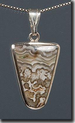 Mexican Crazy Lace Agate Silver Pendant