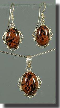 Mahogany Obsidian Pendant & Earring Set