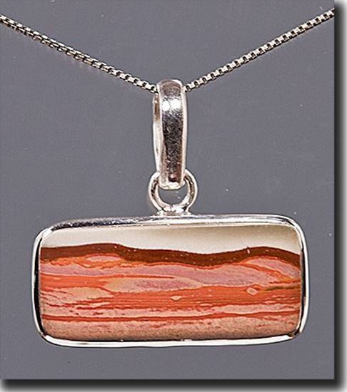 Owyhee Red Desert Picture Jasper Silver Pendant
