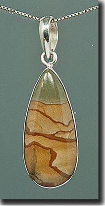 Owyhee Cripple Creek Picture Jasper Silver Pendant