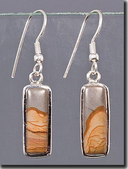 Owyhee Shadow Mountain Picture Jasper Silver Earrings