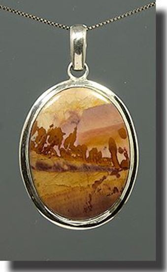 Owyhee Chinese Dendritic Picture Jasper Silver Pendant