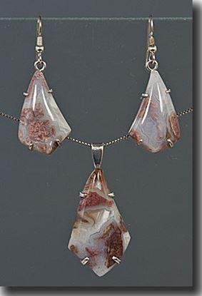 Wyoming Youngite Jasper Silver Pendant & Earrings