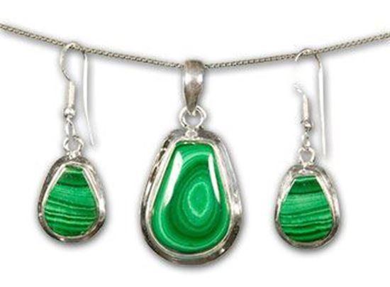 Malachite Silver Earrings & Pendant