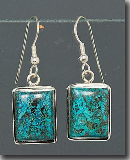 Rectangle Chrysocolla Silver Earrings