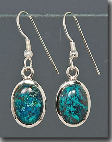 Oval Chrysocolla Silver Earrings