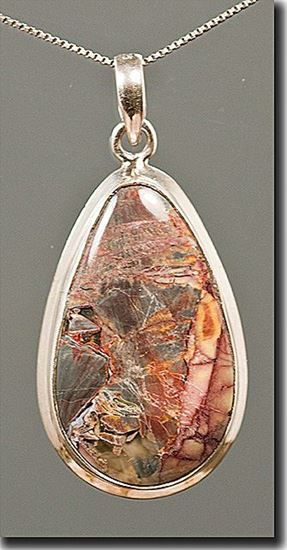 Mexican Butterfly Wing Jasper Silver Pendant
