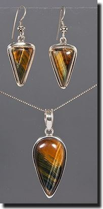 Tiger Eye Silver Pendant & Earrings
