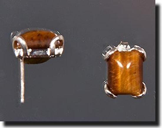 Tiger Eye Silver Earrings