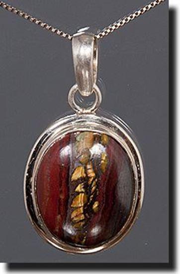 Australian Tiger Iron Silver Pendant