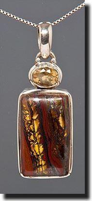 Australian Tiger Iron & Citrine Silver Pendant