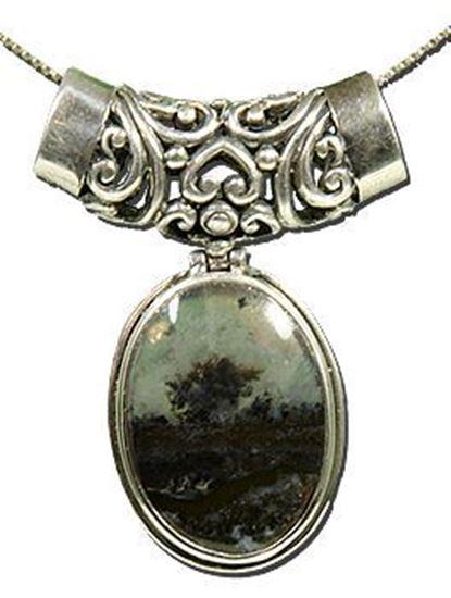 Oregon Eagle Rock Plume Agate Silver Pendant