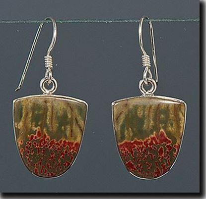 Chinese Red Creek Jasper Silver Earrings