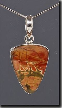 Chinese Red Creek Jasper Silver Pendant