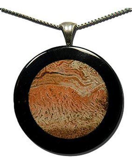 Fossil Fern & Black Onyx Silver Pendant