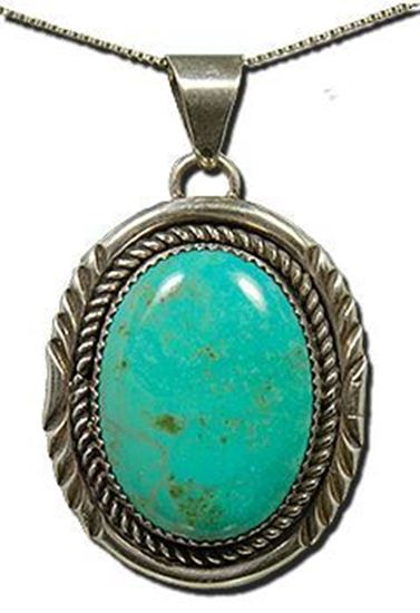 Oval Royston Turquoise Silver Pendant
