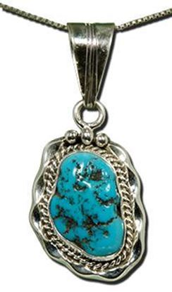 Navajo Silver Pendant with Sleeping Beauty Turquoise Nugget
