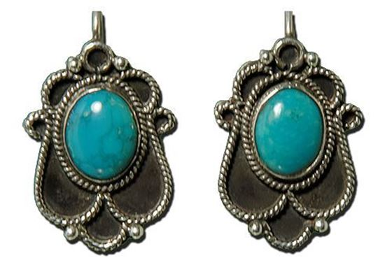 Powder Blue Chinese Turquoise Silver Earrings