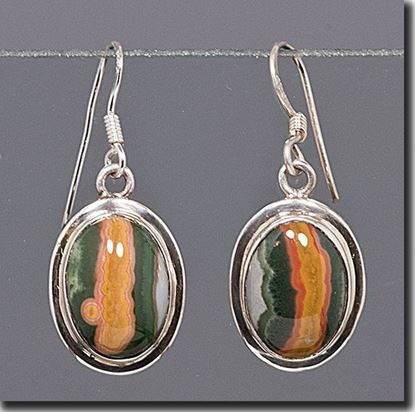 Silver earrings set with the gemstone Madagascar Ocean Jasper