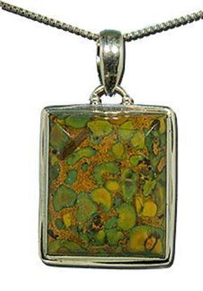 Green Yellow Jasper Silver Pendant