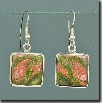 Unakite Silver Earrings