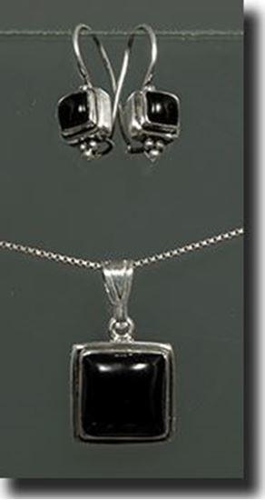 Black Onyx Sterling Earring & Pendant Set