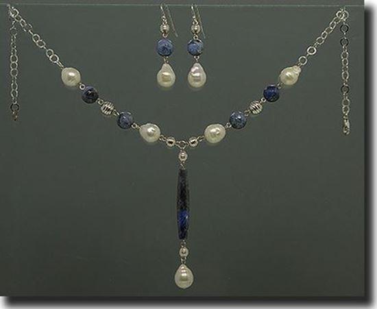 Sodalite & Pearl Silver Necklace, Braclet & Earrings