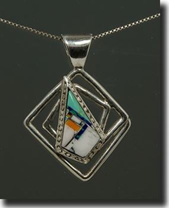 Turquoise Inlay Silver Pendant
