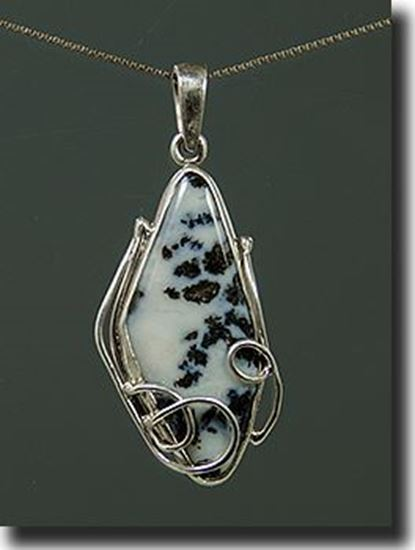 Silver Pendant set with Black Feather Dendritic Agate Wyoming