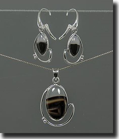 Montana Moss Agate Silver Pendant & Earrings