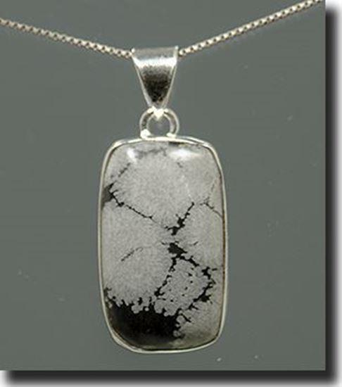 Silver Snowflake Obsidian Pendant