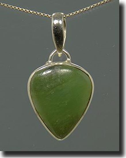 Silver Green Jade Pendant