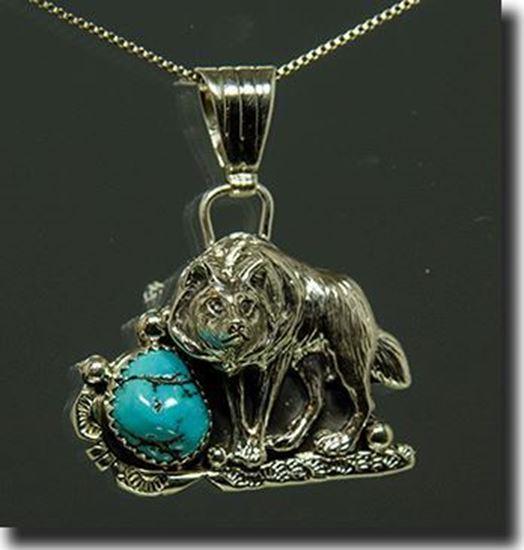 Navajo Turquoise Wolf pendant