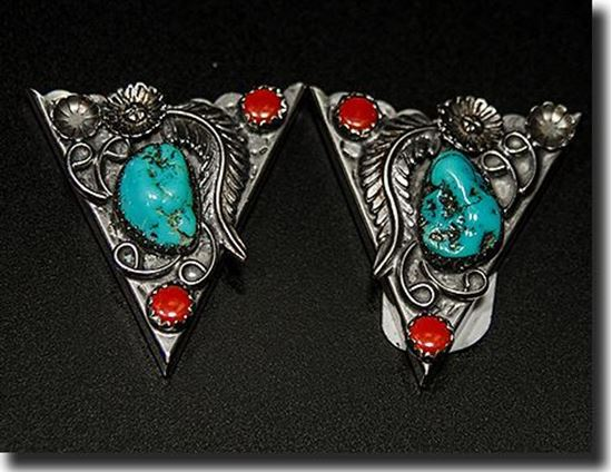 Turquoise & Coral Collar Tips