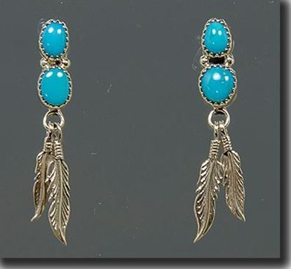 Navajo Silver earrings with Sleeping Beauty Turquoise